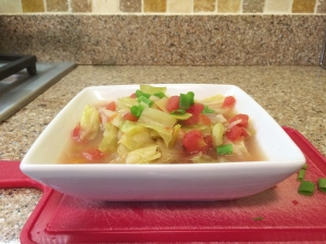 Spicy cabbage soup for lunch!